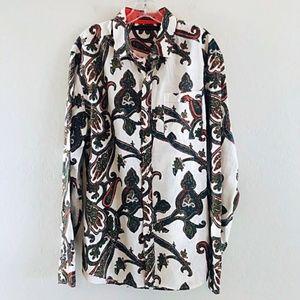 Sean John Shirt Flip Cuff Paisley Shirt Men L
